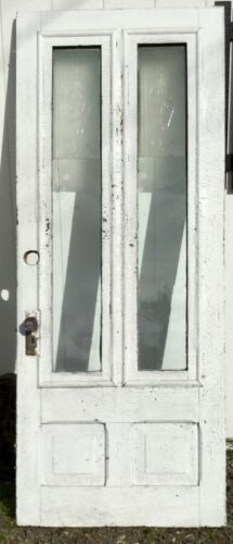 OLD VTG ANTIQUE HOUSE ENTRY CHIPPY CRACKLE WHITE PAINT 2 GLASS PANE DOOR
