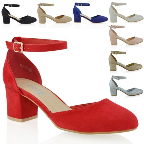 Womens Closed Toe Ankle Strap Sandals Ladies Low Mid Block Heel Mary Shoes Size