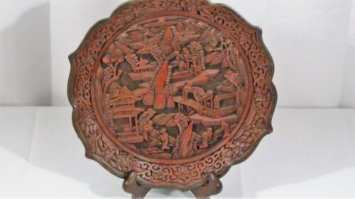 ANTIQUE CHINESE CINNABAR FOLIATE RIM PLATE W/INTRICATELY CARVED SCENES,SEAL