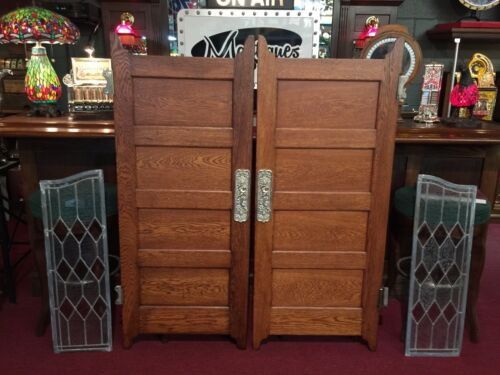 "Early 1900s Oak Bar Saloon Doors with Glass Side Panels  ""Watch Video"""
