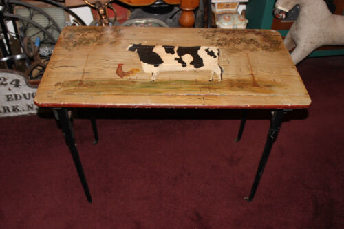 Antique Folding Sewing Table W/Painted Country Cow & Rooster-Plank Wood Table
