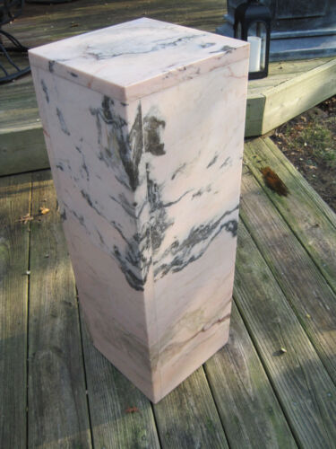 Beautfiul Estate Rose / Pink Marble Pedestal, Height: 29.5""