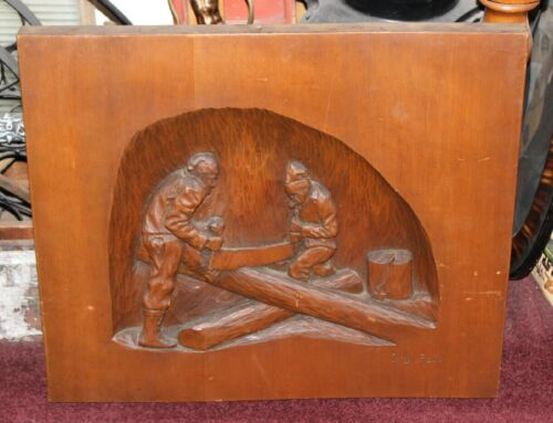 Original G DuFour Signed Wood Carving Of Men Sawing Wood W/2 Man Saw-Large Size