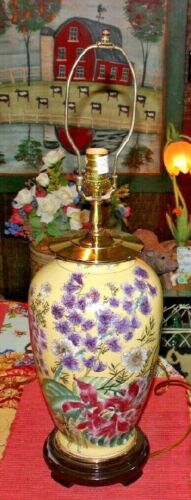 Asian Chinese Japanese Vase Table Lamp Yellow W/Painted Colorful Flowers-#1