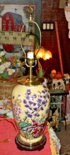 Asian Chinese Japanese Vase Table Lamp Yellow W/Painted Colorful Flowers-#2