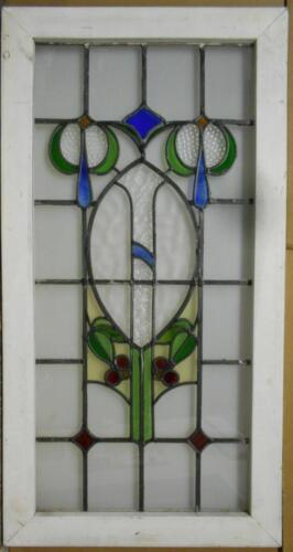 "LARGE OLD ENGLISH LEADED STAINED GLASS WINDOW Beautiful Floral 22.5"" x 43"""