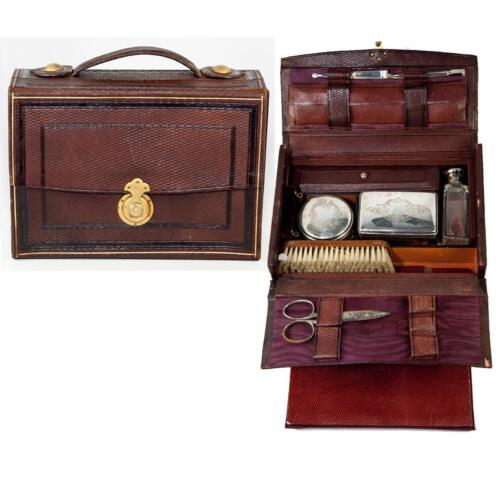 Antique French Grand Tour Travel Valet, Vanity Items in Leather Valise, Case