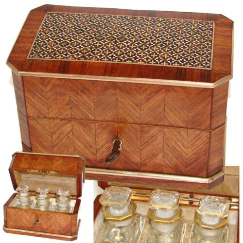 Antique French Scent Casket, Caddy, 3 Baccarat Perfume, Cologne, Napoleon III