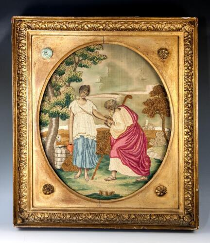 Antique 1700s English Silk Work Embroidery Tapestry, Sampler in Frame, Woman