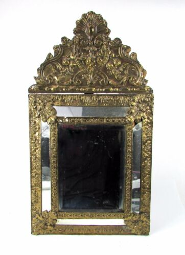 "Antique 19th Century Diminutive Dutch Baroque Style Repoussee 23"" Tall Mirror"