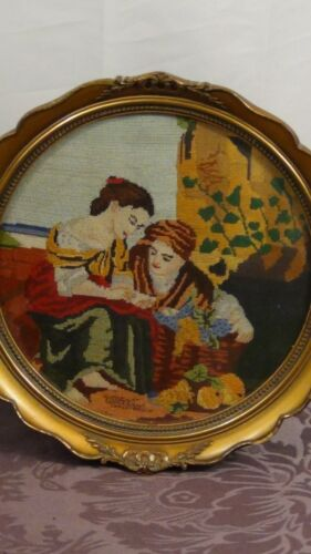 ANTIQUE 19c FRENCH EMBROIDERY DEPICTS A YOUNG JIPSY GIRL PALM READER,SIGNED