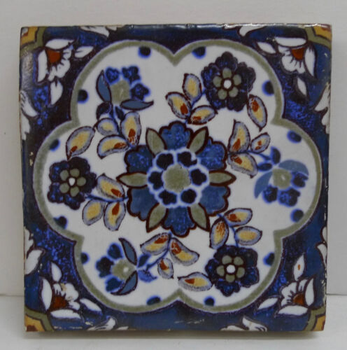 Antique Tile with Persian Floral Pattern- Mosaic Tile Co.