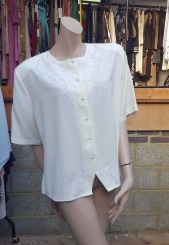Claudia Richard Cream Collared  Blouse Front Floral Embroidery Size  UK 18