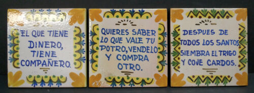 Spanish Proverb Tiles-Set of 3 La Giralda Onda