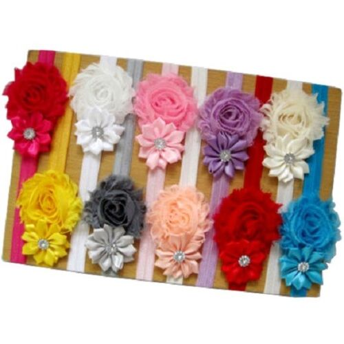 New 10pcs Kids Girl Baby Toddler Infant Flower Headband HairBow Band Accessories