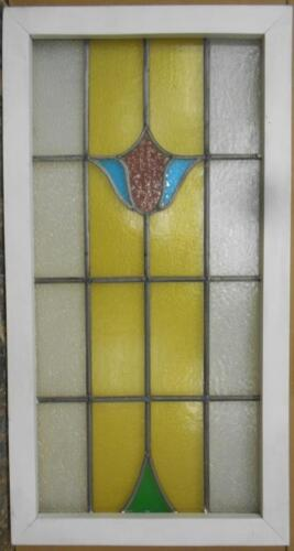 """LARGE OLD ENGLISH LEADED STAINED GLASS WINDOW Beautiful Floral 19"""" x 36.25"""""""
