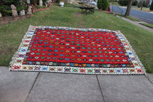 """Vintage Afghan Wool Hand Woven Area Rug-10'6""""X6'10""""-Red Colorful Patterns-#1"""
