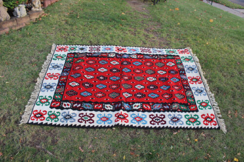 """Vintage Afghan Wool Hand Woven Area Rug 6'6""""X4'6"""" Red Colorful Patterns #2"""