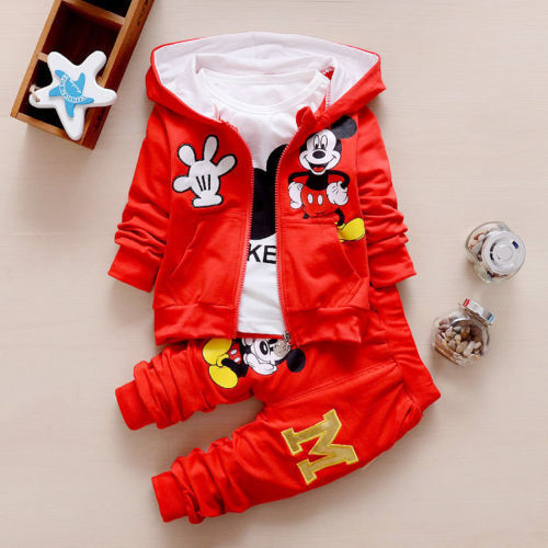 3pc Toddler kids baby boy Girl mickey Hoode coat+T shirt+pants clothes set