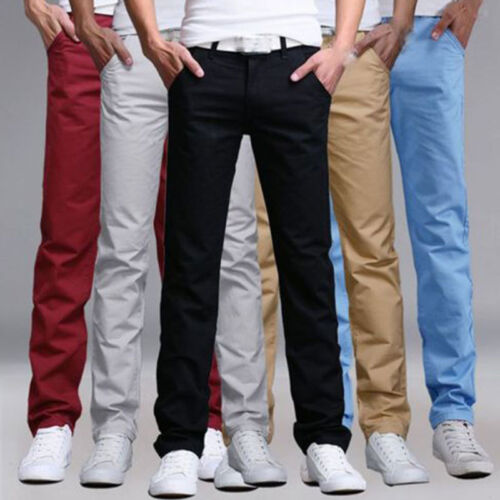 Fashion Men's Slim Fit Straight Leg Jeans Trousers Casual Pencil Business Pants