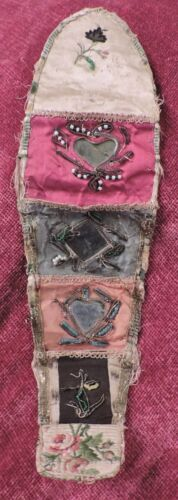 GEORGIAN 18TH C ROLLUP PURSE / WALLET W EMBROIDERY AND MIRROR DETAIL