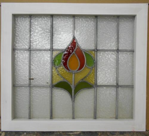 "MID SIZED OLD ENGLISH LEADED STAINED GLASS WINDOW Sweet Floral 25.25"" x 22.25"""