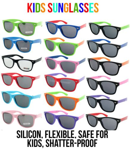 Kids Multi Colours Polarised Wayfarer Style Silicone Shatter proof Sunglasses