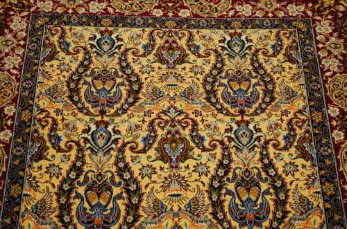 Ci 1970s ANTIQUE MASTER PIECE PRSIAN I SFAHAN RUG 3.8x5.5 KURK WOOL_SILK ACCENTS