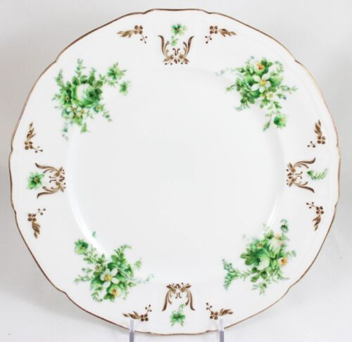 SET 6 LIMOGES DINNER PLATES ANTIQUE HAND PAINTED AHRENFELDT GOLD WHITE FLOWERS
