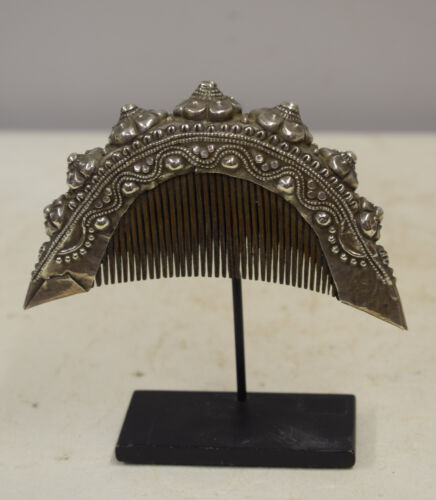 Southeast Asian Etched Silver Flower Comb Sumatra Lampung