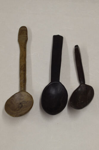 Ifuago Philippines Northern Luzon Carved Wooden Handle Three Serving Spoons