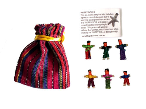 Worry Doll - 6 X MINI WORRY DOLLS in TEXTILE BAG - green.