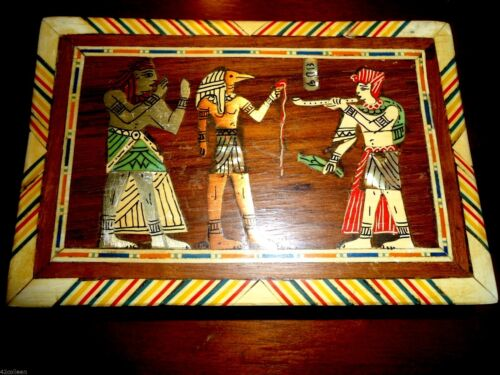 Awesome Old Vintage Egyptian Wood Box Bone Inlay, Abalone & Copper Retro 1920's