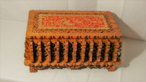 AMAZING EARLY 20c CHINESE OAK CARVED PIERCED STORAGE,DRESSER BOX W/BIRDS ON TOP