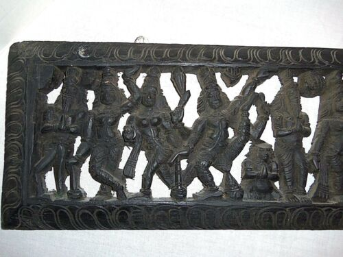 """VINTAGE HAND CARVED WOOD HINDU EPIC WALL HANGING RARE PANEL INDIA  9"""" x 38"""""""