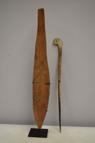 Papua New Guinea Inscribed Gourd Lime Container Bone Spatula May River Sepik