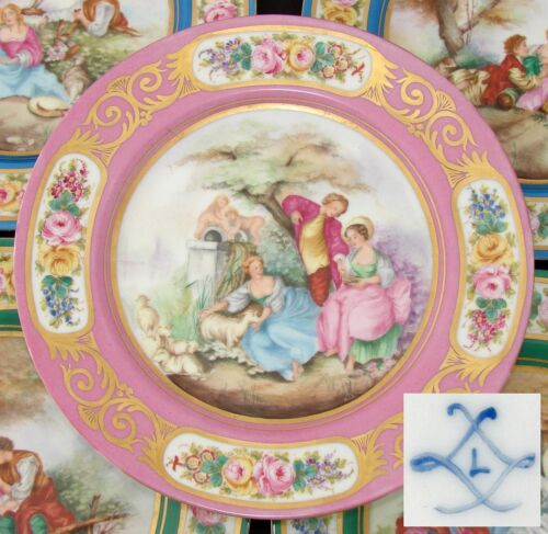 "Antique French Sevres Marked 10"" Cabinet Plate, Pink & Gold, Romantic Painting"