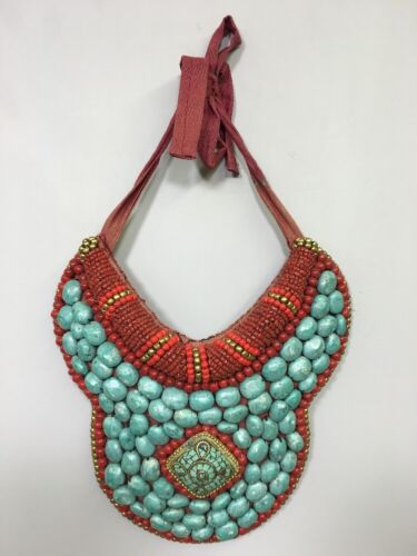 Tibetan Collar Turquoise Red Coral Necklace