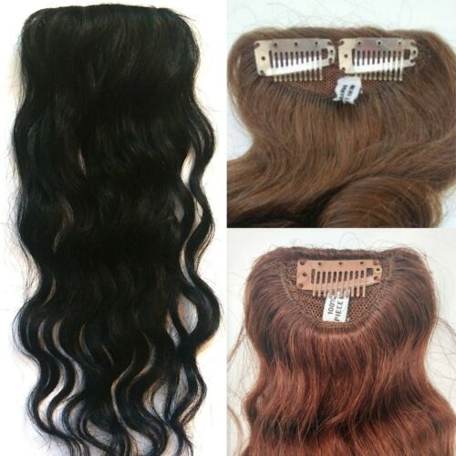"8/14/16"" 100% Human Hair Undetectable Wavy Clip In Filler Seamless Topper Piece"
