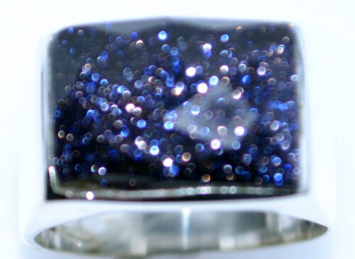 Sterling 925 SILVER Blue Sunstone Signet Mens Ring Gents Sizes M to Z+5; 6 to 12