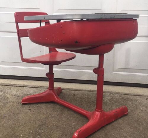Vintage 1930s Child's School Desk & Chair Wood And Metal American Seating Co