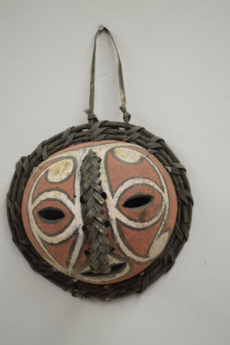 Papua New Guinea Coconut Shell Clan Symbols Adornment Mask