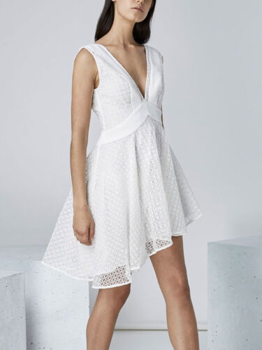 Finders Keepers Begin Summer White Lace mini Fit Flare Plunging V Neck Dress