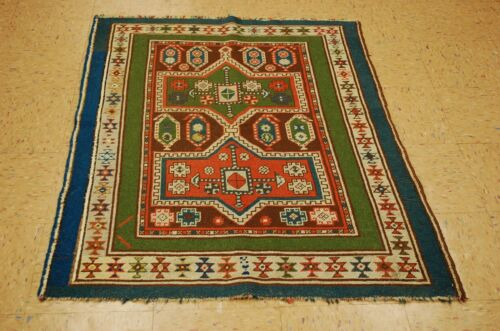 Circa Pre 1900's ANTIQUE SUPER RARE CAUCASIAN SOUZANI RUG 3.4x4.6 VEGETABLE DYE
