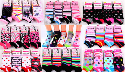 6 Pairs Ladies Women's Trainer Socks Liners Sports Adults Funky Designs 4-7 Size