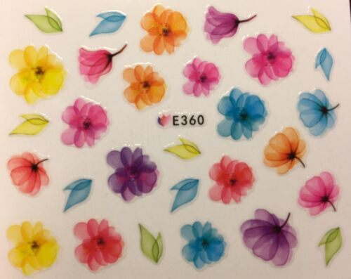 Nail Art 3D Decal Stickers Bright Multicolored Flowers E360