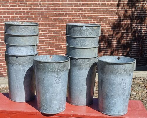 8 EXCELLENT Vintage OLD GALVANIZED Sap Buckets Maple Syrup GREAT STYLE Must See!