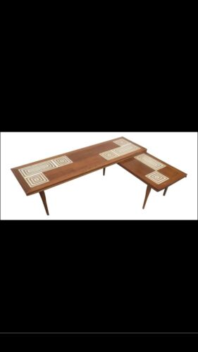 Mid Century Tile Top L Shaped Swivel Coffee Table Vintage