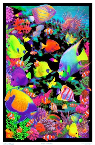 Living Reef - Blacklight Poster - 23x35 Flocked Nature Ocean Tropical Fish 1976
