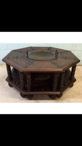 Medieval Spanish Style Coffee Table With Brazier Mid Century Modern Vintage